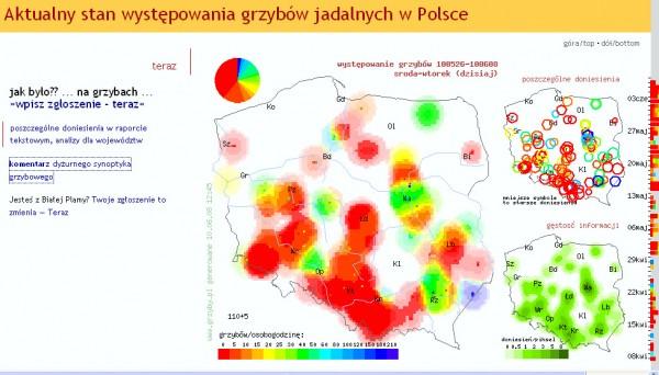 Na jednym z profesjonalnych portali zarówno dla naukowców, jak i zwykłych zbieraczy Grzyby.pl znajdziecie mapy aktualnego występowania grzybów. fot. Mapa aktualnego występowania grzybów z Grzyby.pl